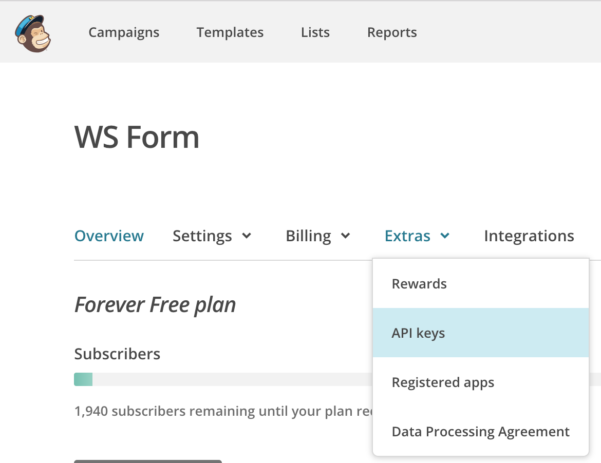 WS Form PRO - MailChimp - Click on Extras
