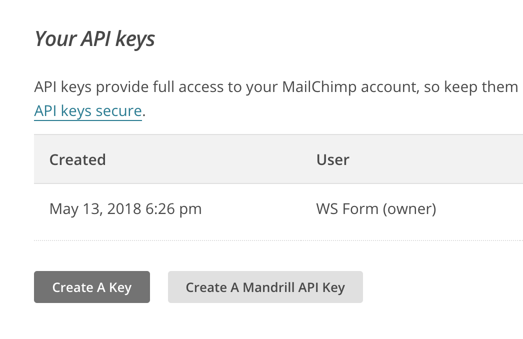 WS Form PRO - dotmailer - Click on Create a Key