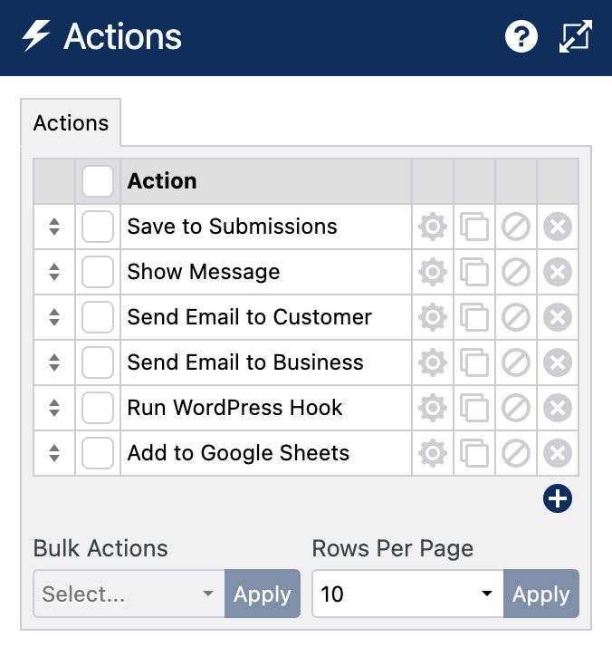 WS Form PRO - Actions