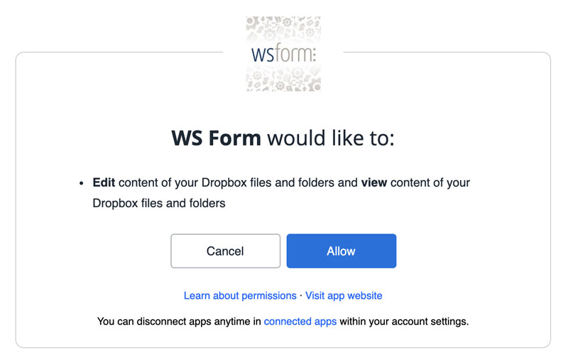 WS Form - Dropbox Add-On - Connect