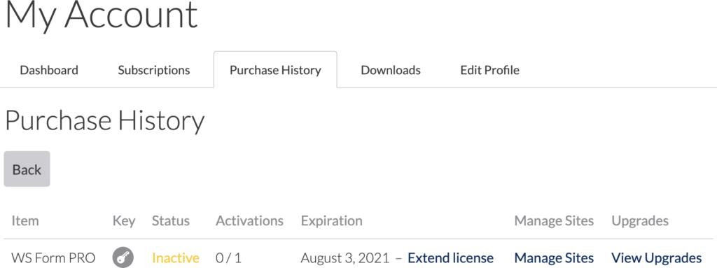 WS Form PRO - Find License