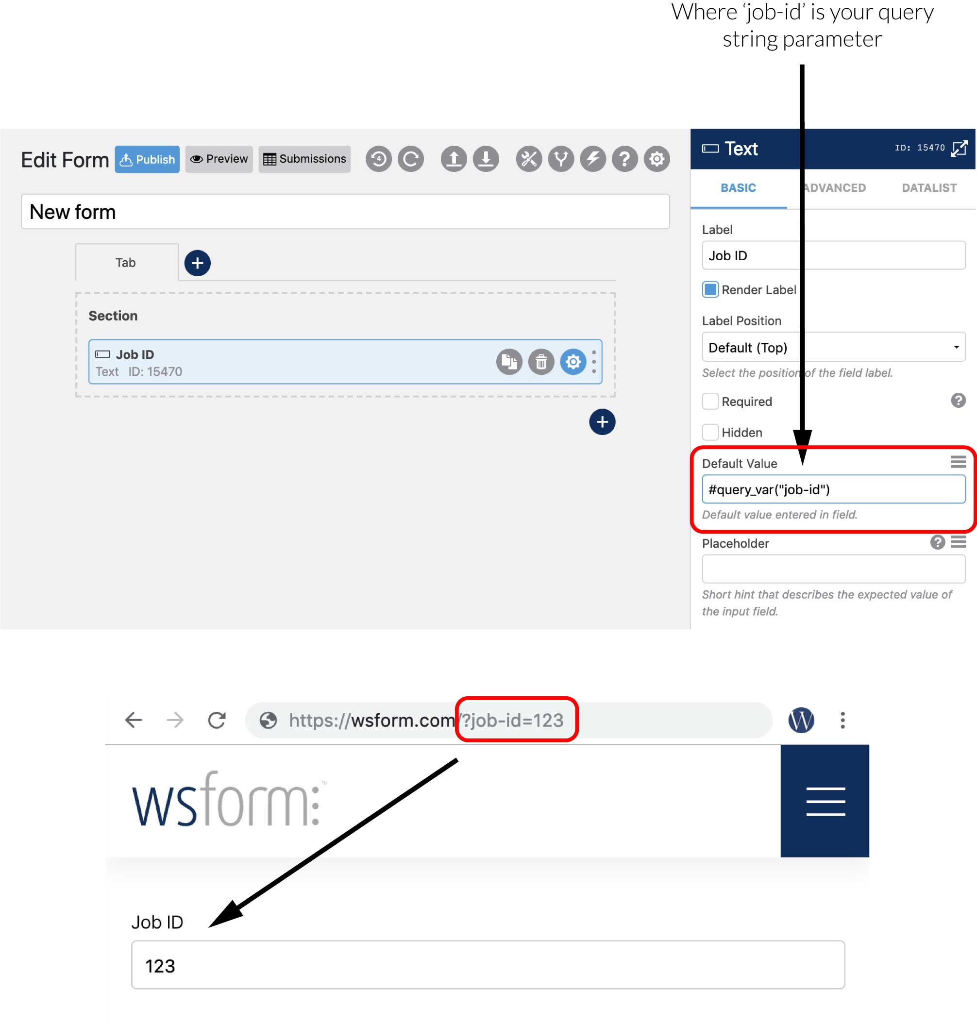WS Form - Populating a default value with a query string parameter