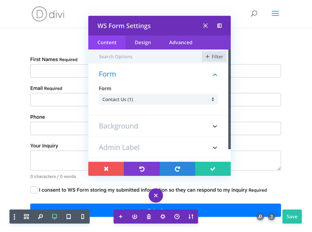 The WS Form PRO Divi Visual Builder Module