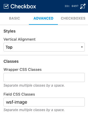 WS Form - Style Checkboxes - CSS Class - Image