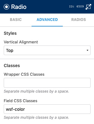 Editing Field CSS Classes For Radios