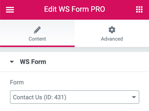 WS Form - Elementor Module - Select Form