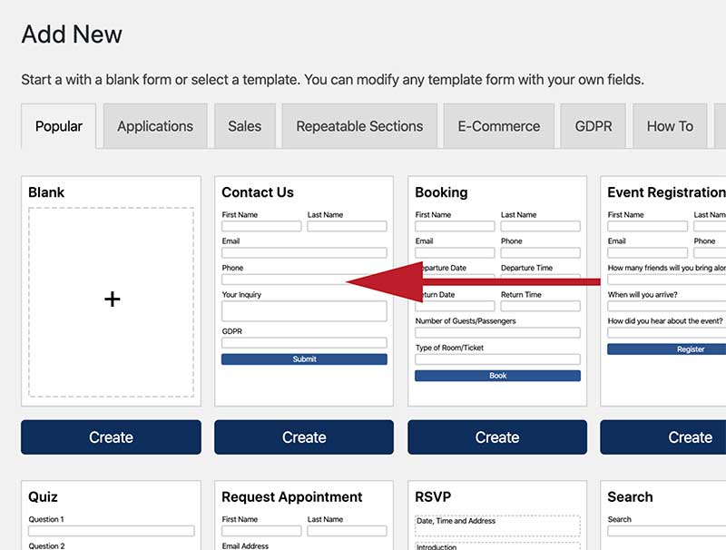 Create a Form Recipient Selector - Add New Form