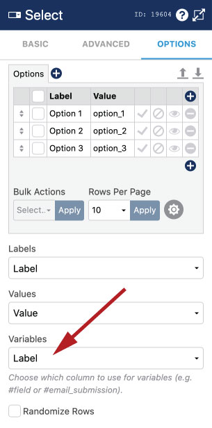 WS Form - Select, Checkbox and Radio Variables