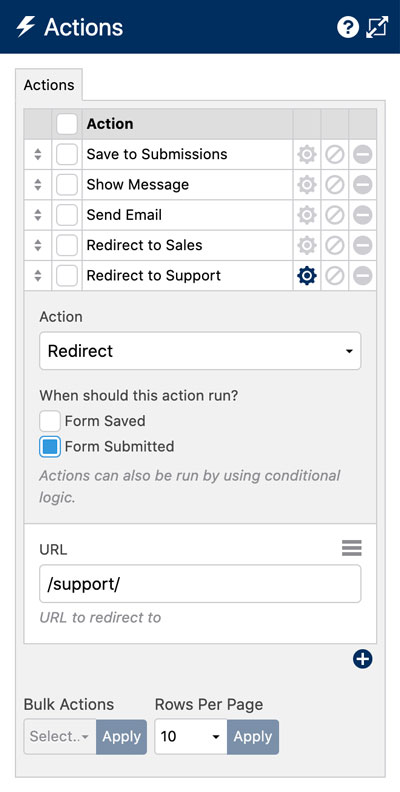 Create a Form Redirect Selector - Actions