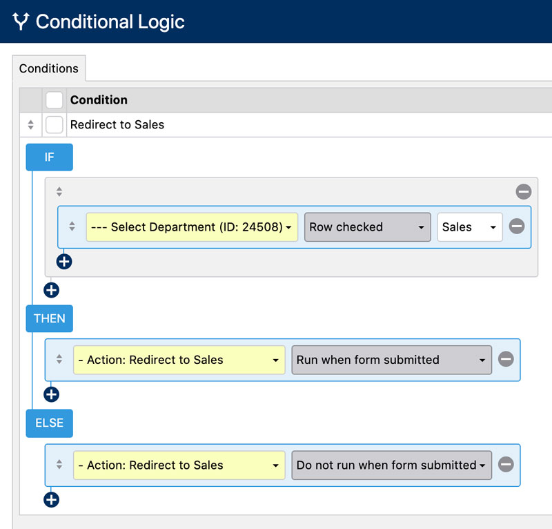 Create a Form Redirect Selector - Conditional Logic