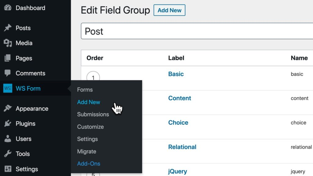 WS Form ACF Tutorial - Create a Form