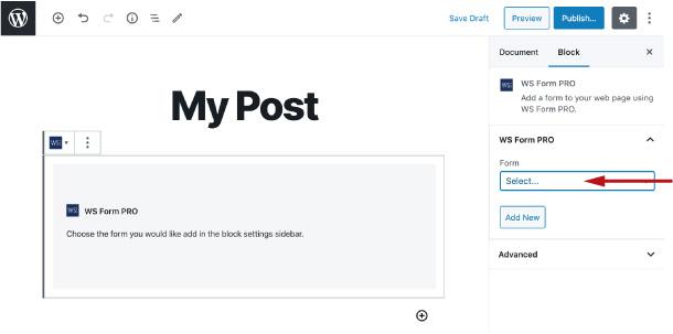 WS Form - Gutenberg Block - Select Form