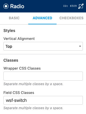 WS Form - Style Radios - CSS Class - Switch