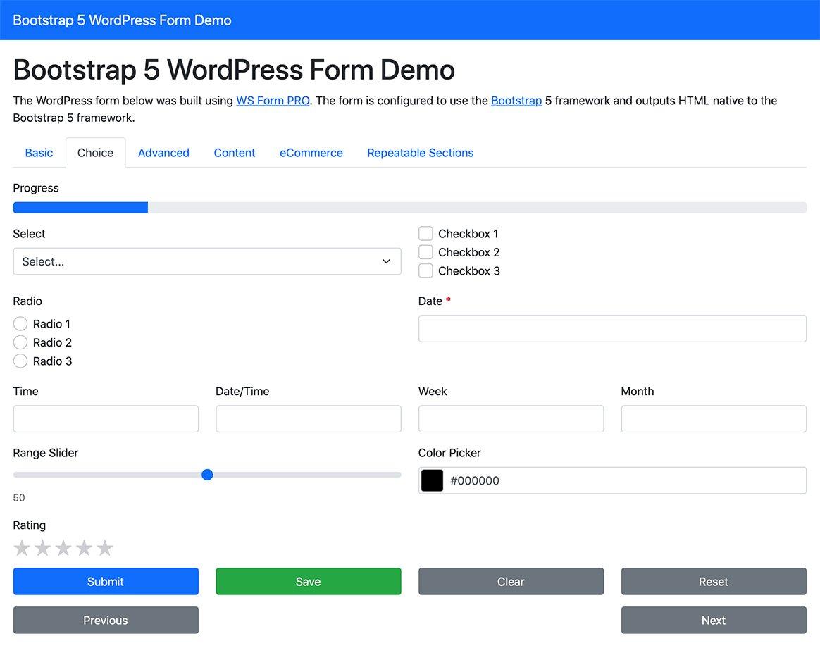 WS Form Frameworks - Bootstrap 5