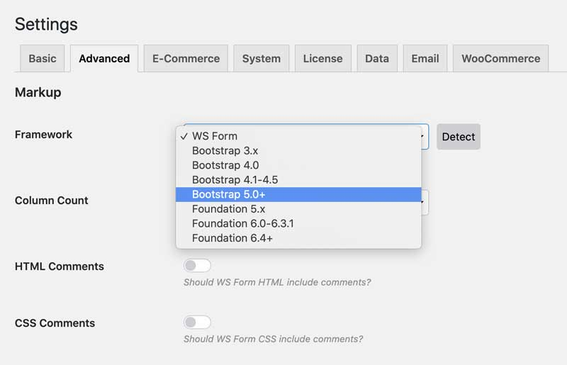 WS Form Frameworks - Bootstrap - Settings