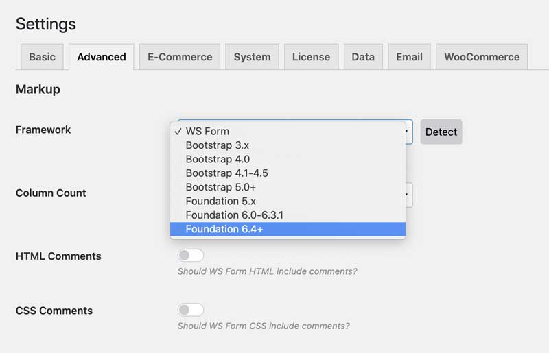 WS Form Frameworks - Foundation - Settings