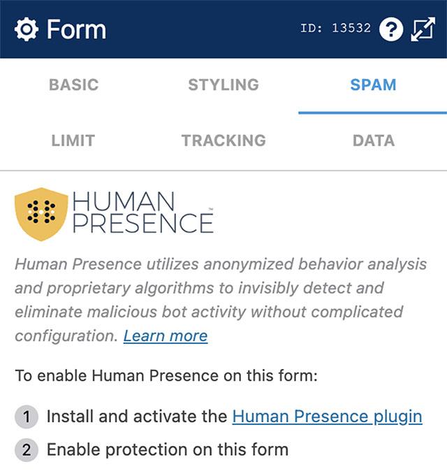 WS Form - Human Presence