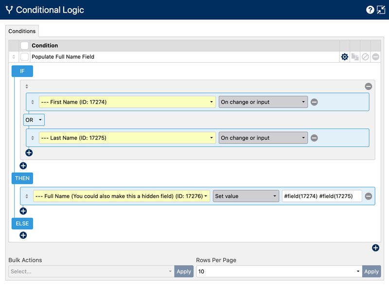 Combining First and Last Name Fields in a Full Name field - Conditional Logic