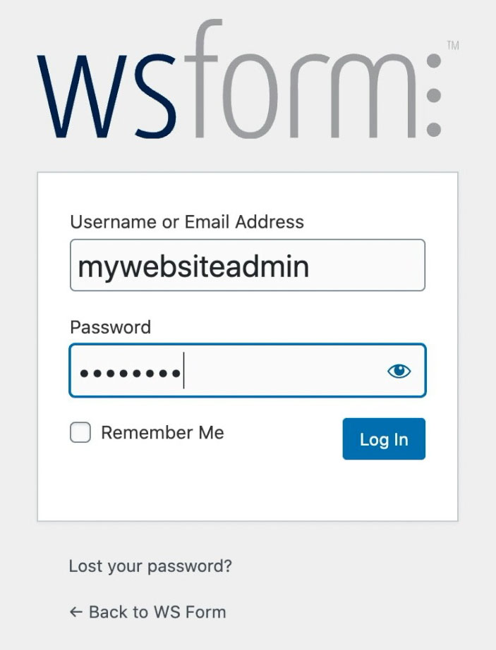 WS Form - How to Create a Contact Form in WordPress - Login