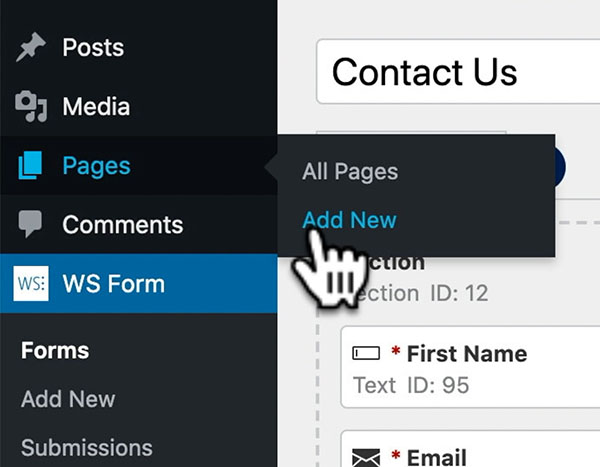 WS Form - How to Create a Contact Form in WordPress - Page Add New