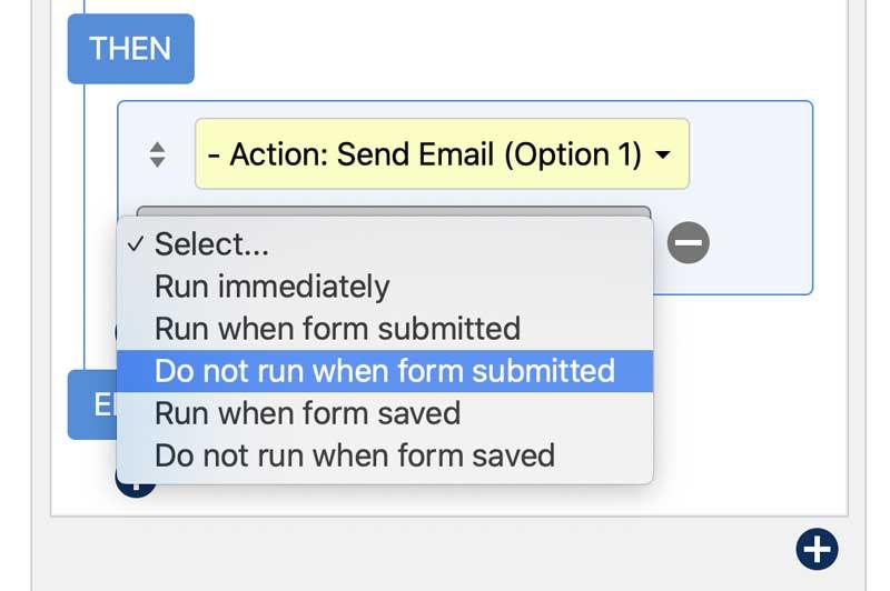 Action - Then Condition - Do Not Run