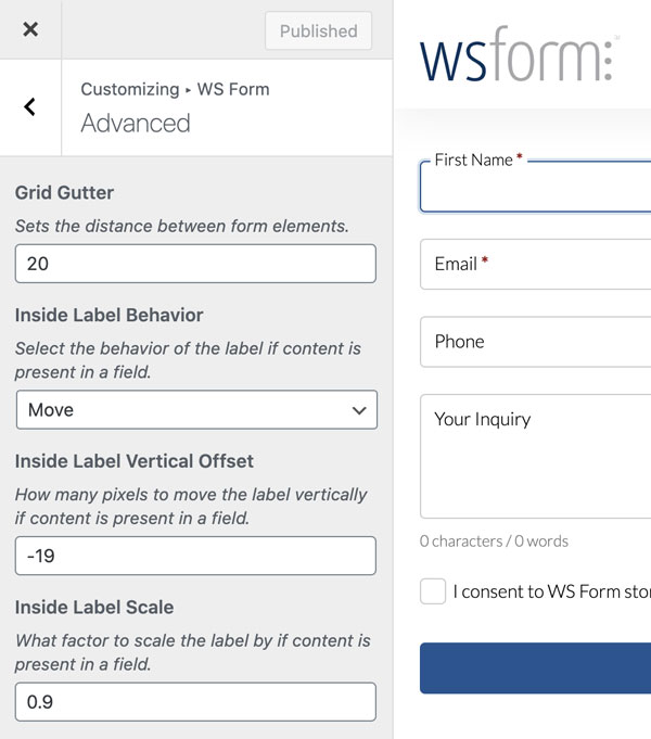 WS Form - Inside Label Position Customization