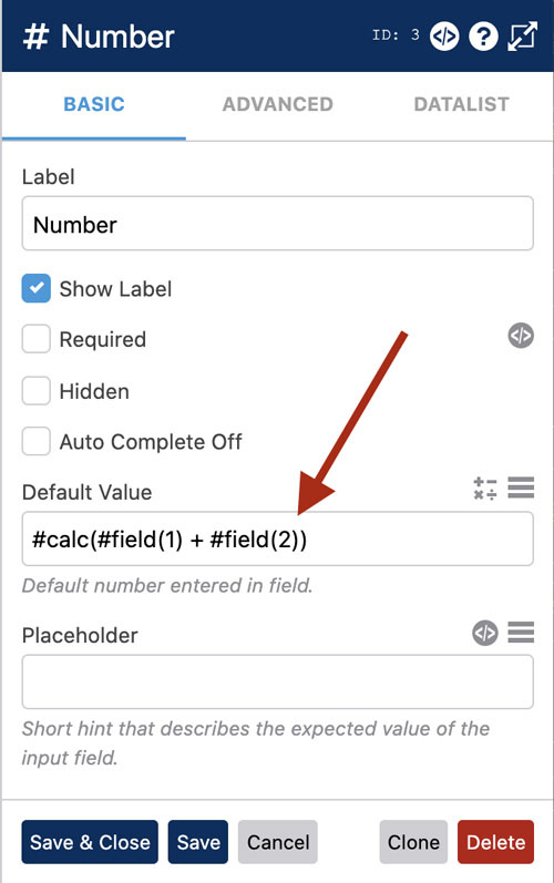 WS Form - Calculated Field Values - Default Value Setting