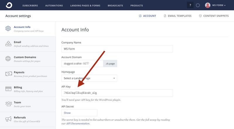 WS Form - ConvertKit - Account Info API Key