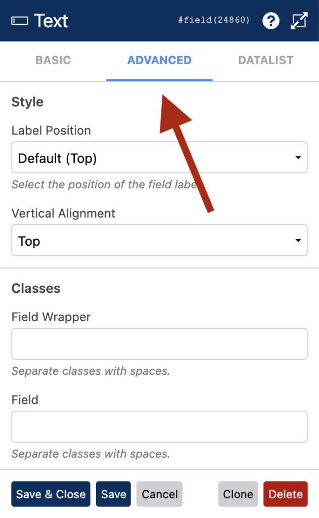 WS Form - Field Settings - Advanced Tab