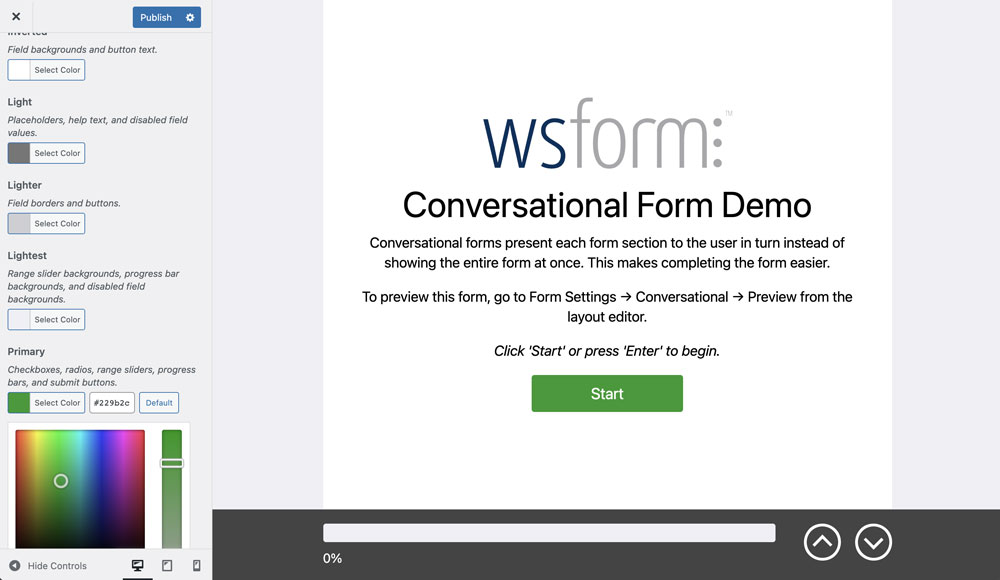 WS Form PRO - Conversational Form - Customize Editor