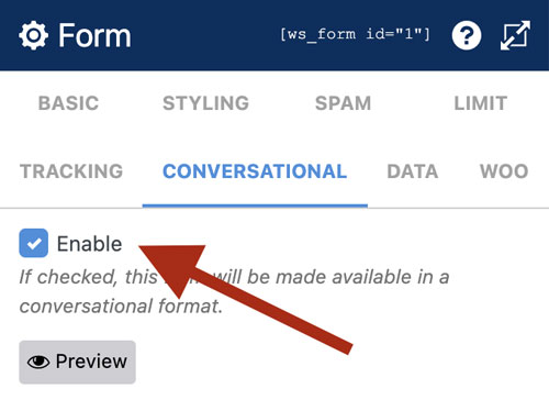 WS Form PRO - Conversational Forms - Enable