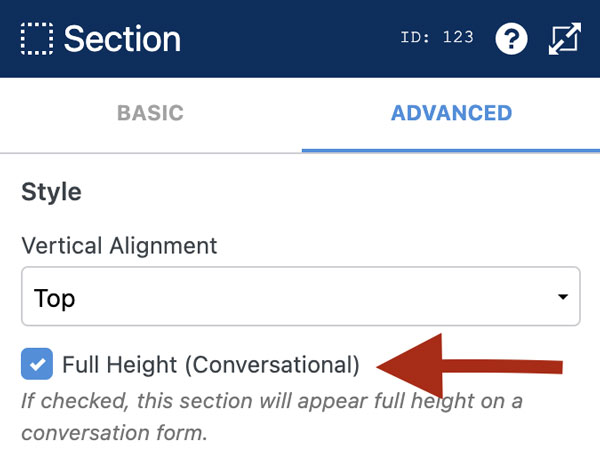 WS Form PRO - Conversational Form - Full Height