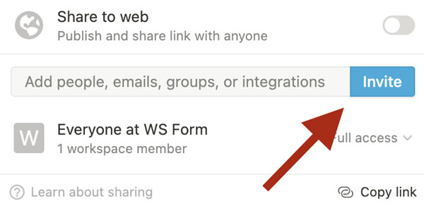 WS Form PRO - Notion - Invite