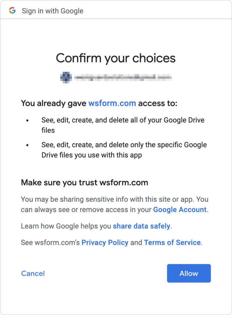 WS Form PRO - Google Drive Add-On - Connect