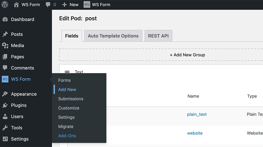WS Form Pods Tutorial - Add New Form