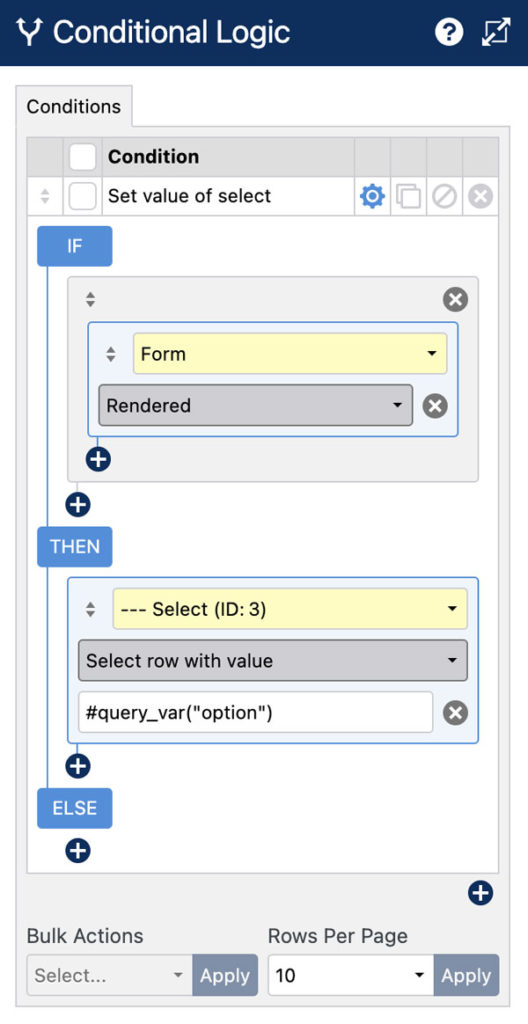 WS Form PRO - Select Field - Conditional Logic