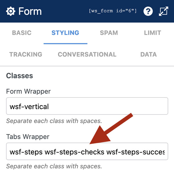 WS Form PRO - Style Tabs - Form Settings - Tabs Wrapper Class Setting