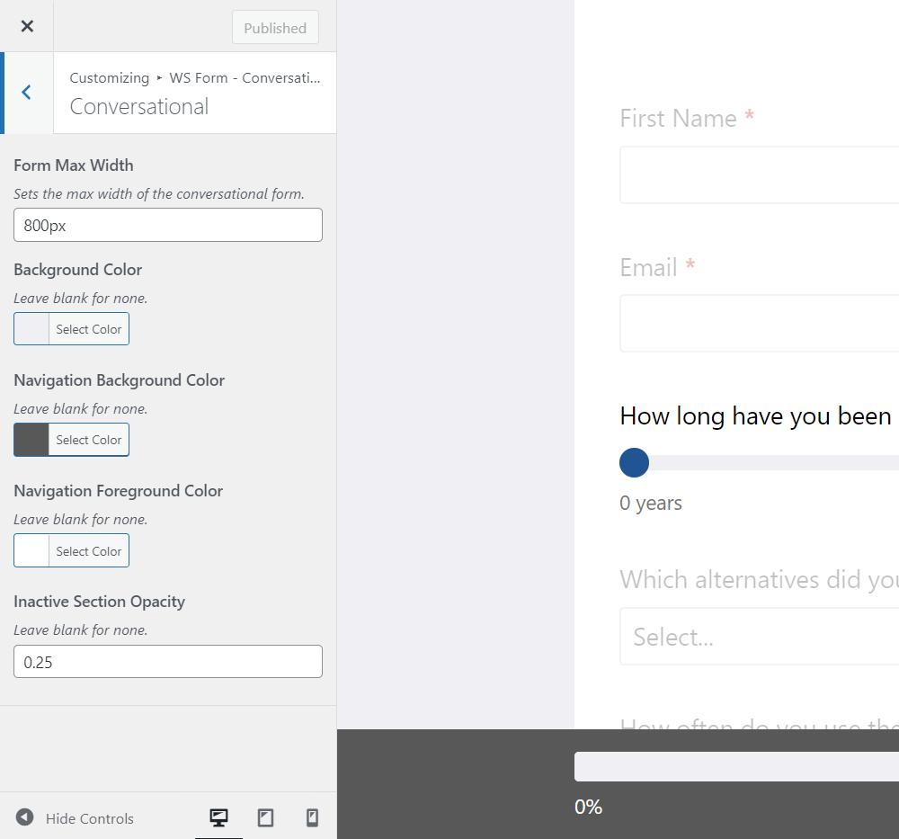 Conversational Customizer Settings